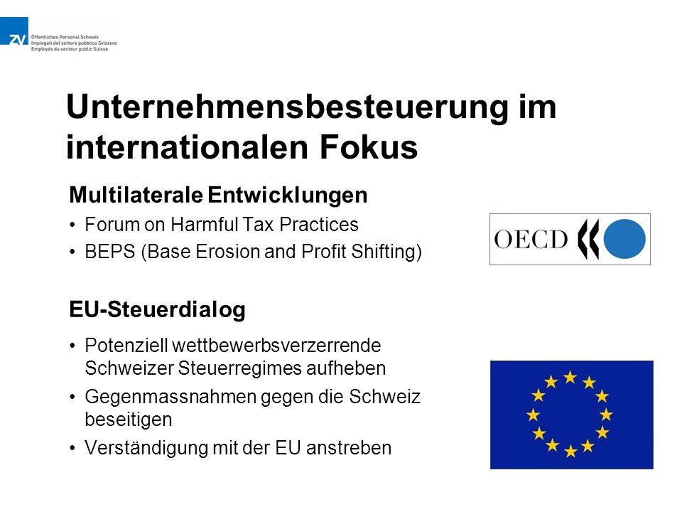 Unternehmensbesteuerung im internationalen Fokus EU-Steuerdialog Potenziell wettbewerbsverzerrende Schweizer Steuerregimes aufheben Gegenmassnahmen gegen die Schweiz beseitigen Verständigung mit der EU anstreben Multilaterale Entwicklungen Forum on Harmful Tax Practices BEPS (Base Erosion and Profit Shifting)