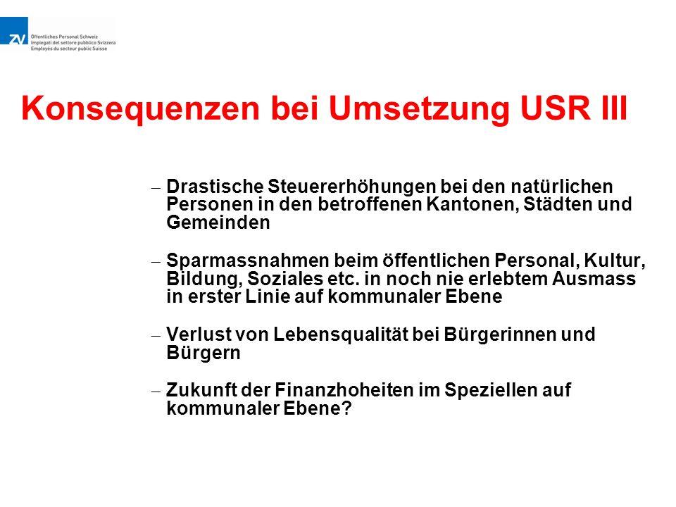 Konsequenzen bei Umsetzung USR III  Drastische Steuererhöhungen bei den natürlichen Personen in den betroffenen Kantonen, Städten und Gemeinden  Sparmassnahmen beim öffentlichen Personal, Kultur, Bildung, Soziales etc.