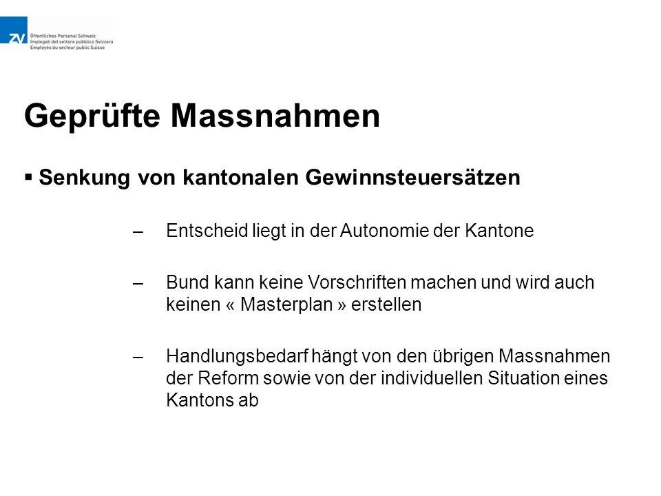Geprüfte Massnahmen  Senkung von kantonalen Gewinnsteuersätzen –Entscheid liegt in der Autonomie der Kantone –Bund kann keine Vorschriften machen und wird auch keinen « Masterplan » erstellen –Handlungsbedarf hängt von den übrigen Massnahmen der Reform sowie von der individuellen Situation eines Kantons ab