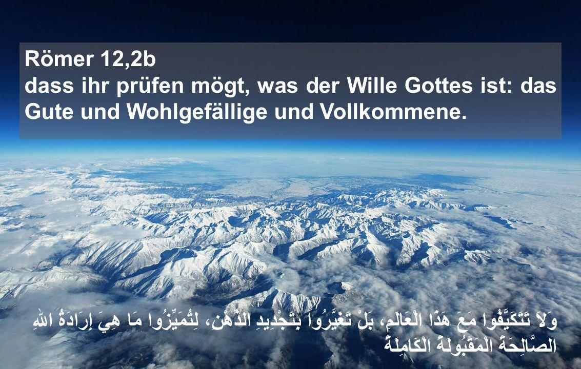 Römer 12,2b dass ihr prüfen mögt, was der Wille Gottes ist: das Gute und Wohlgefällige und Vollkommene.