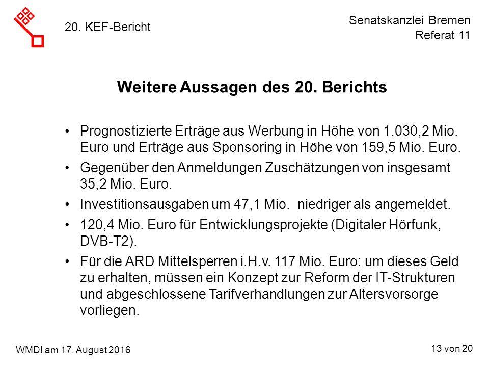 Senatskanzlei Bremen Referat 11 13 von 20 WMDI am 17. August 2016 20. KEF-Bericht Prognostizierte Erträge aus Werbung in Höhe von 1.030,2 Mio. Euro un