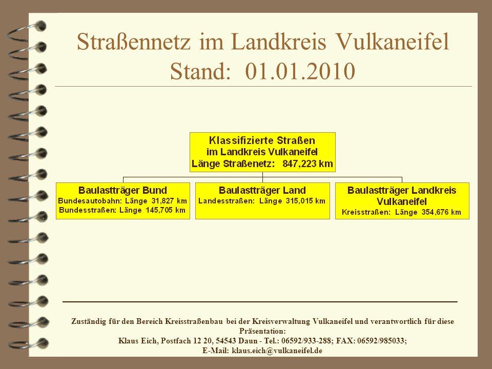 Straßennetz im Landkreis Vulkaneifel Stand: 01.01.2010 ________________________________________________________________________ Zuständig für den Bereich Kreisstraßenbau bei der Kreisverwaltung Vulkaneifel und verantwortlich für diese Präsentation: Klaus Eich, Postfach 12 20, 54543 Daun - Tel.: 06592/933-288; FAX: 06592/985033; E-Mail: klaus.eich@vulkaneifel.de