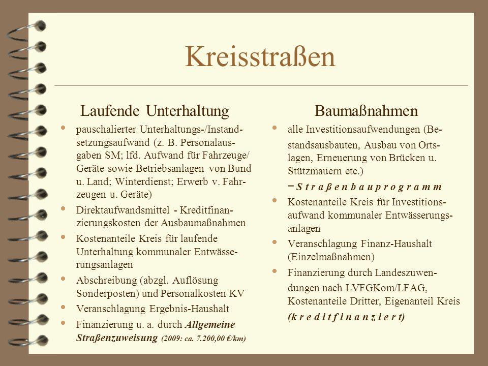 Kreisstraßen Laufende Unterhaltung  pauschalierter Unterhaltungs-/Instand- setzungsaufwand (z.
