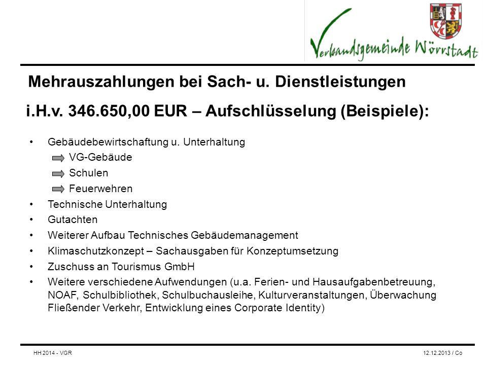 Mehrauszahlungen bei Sach- u. Dienstleistungen Gebäudebewirtschaftung u.