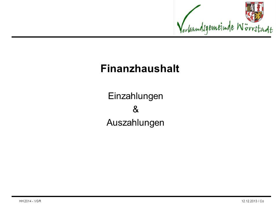 Finanzhaushalt Einzahlungen & Auszahlungen HH 2014 - VGR12.12.2013 / Co