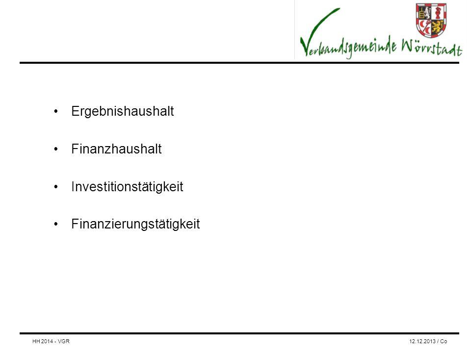 Ergebnishaushalt Finanzhaushalt Investitionstätigkeit Finanzierungstätigkeit HH 2014 - VGR12.12.2013 / Co