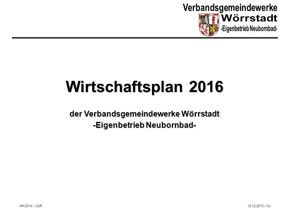 Wirtschaftsplan 2016 der Verbandsgemeindewerke Wörrstadt -Eigenbetrieb Neubornbad- HH 2014 - VGR12.12.2013 / Co