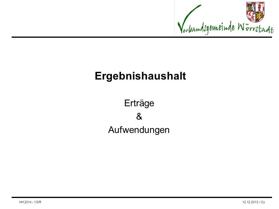Ergebnishaushalt Erträge & Aufwendungen HH 2014 - VGR12.12.2013 / Co