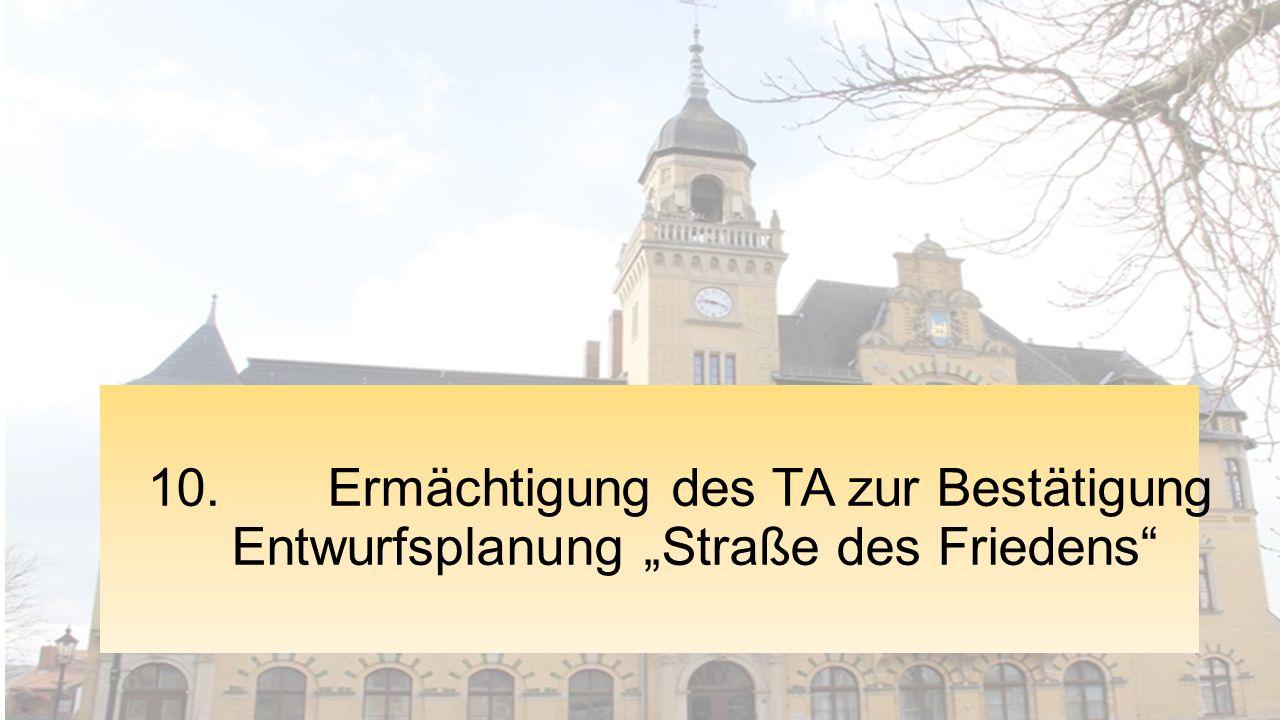"""10. Ermächtigung des TA zur Bestätigung Entwurfsplanung """"Straße des Friedens"""""""