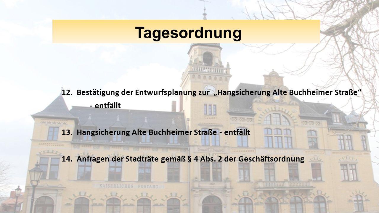 """Tagesordnung 12. Bestätigung der Entwurfsplanung zur """"Hangsicherung Alte Buchheimer Straße"""" - entfällt 13. Hangsicherung Alte Buchheimer Straße - entf"""