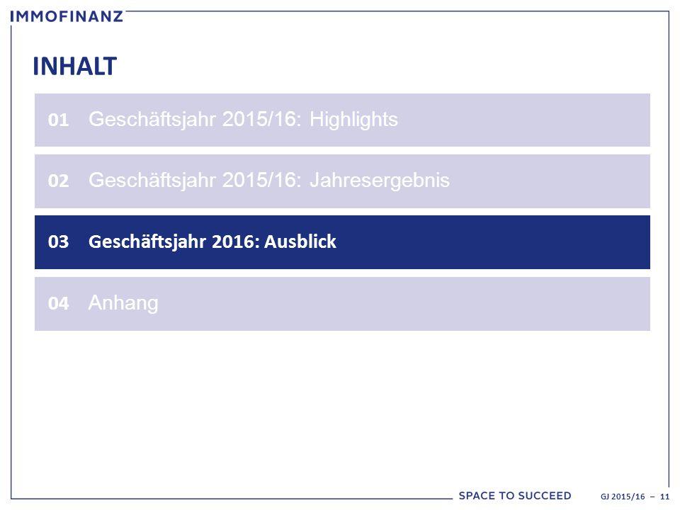INHALT 01 Geschäftsjahr 2015/16: Highlights 02 Geschäftsjahr 2015/16: Jahresergebnis 03Geschäftsjahr 2016: Ausblick GJ 2015/16 – 11 04 Anhang