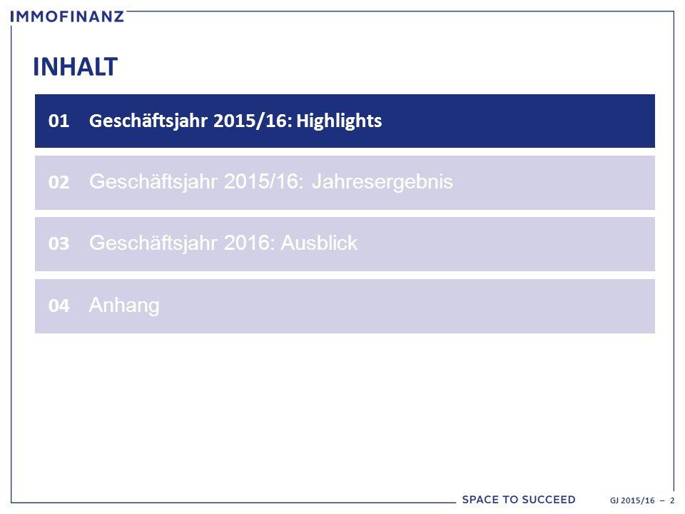 INHALT 01Geschäftsjahr 2015/16: Highlights 02 Geschäftsjahr 2015/16: Jahresergebnis GJ 2015/16 – 2 03 Geschäftsjahr 2016: Ausblick 04 Anhang