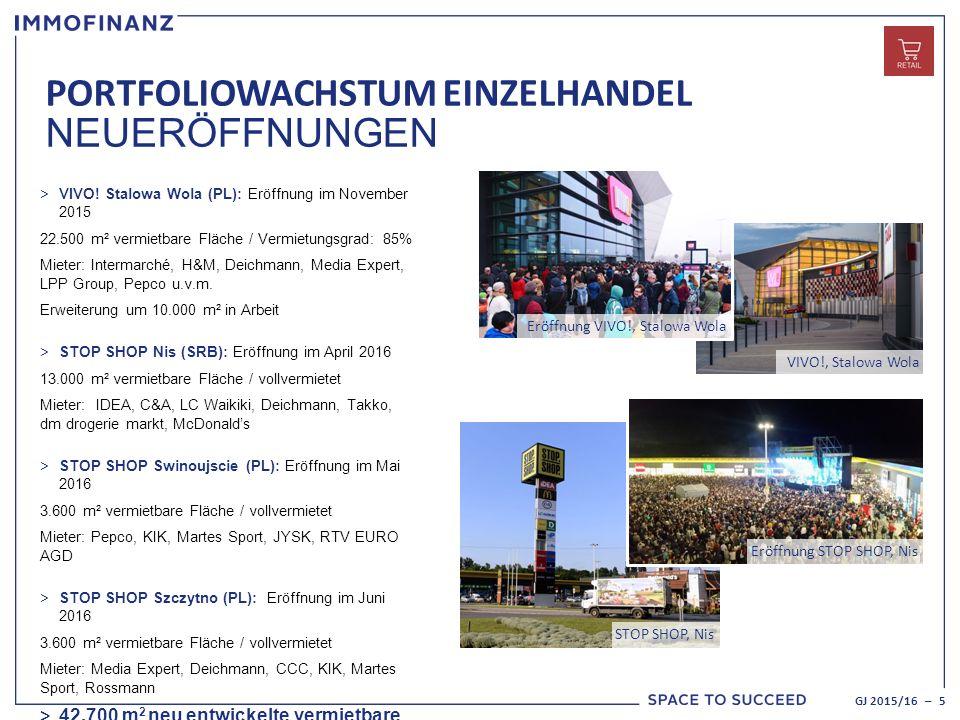 VIVO!, Stalowa Wola PORTFOLIOWACHSTUM EINZELHANDEL NEUERÖFFNUNGEN GJ 2015/16 – 5 > VIVO.