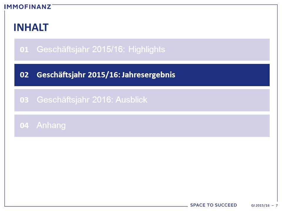 INHALT 01 Geschäftsjahr 2015/16: Highlights 02Geschäftsjahr 2015/16: Jahresergebnis GJ 2015/16 – 7 03 Geschäftsjahr 2016: Ausblick 04 Anhang