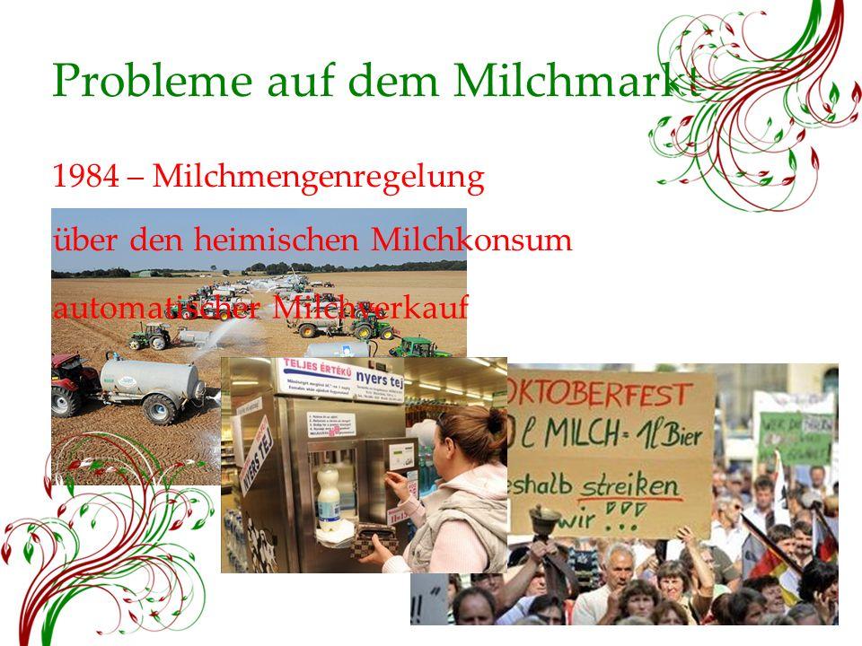 Probleme auf dem Milchmarkt 1984 – Milchmengenregelung über den heimischen Milchkonsum automatischer Milchverkauf