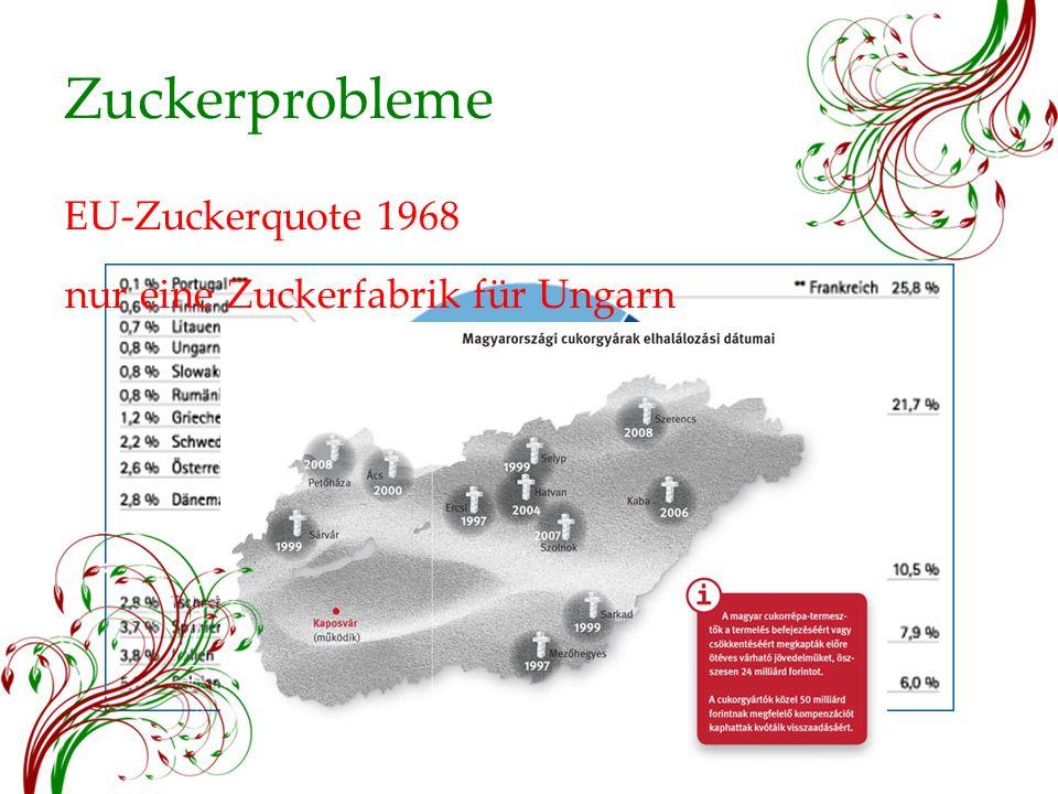 Zuckerprobleme EU-Zuckerquote 1968 nur eine Zuckerfabrik für Ungarn