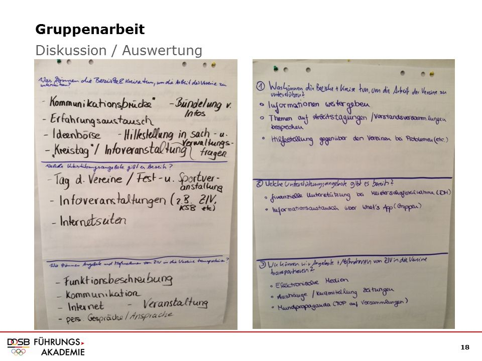 18 Gruppenarbeit Diskussion / Auswertung