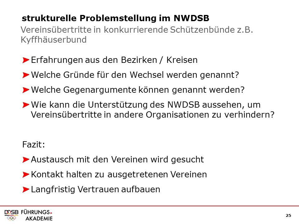 25 strukturelle Problemstellung im NWDSB Erfahrungen aus den Bezirken / Kreisen Welche Gründe für den Wechsel werden genannt.