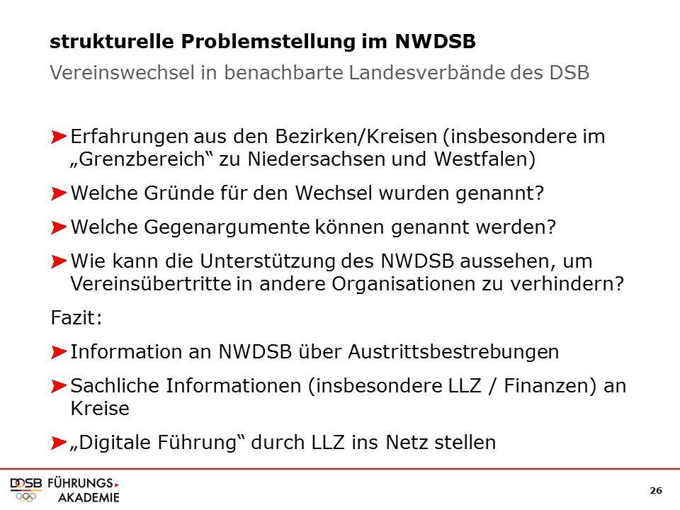 """26 strukturelle Problemstellung im NWDSB Erfahrungen aus den Bezirken/Kreisen (insbesondere im """"Grenzbereich zu Niedersachsen und Westfalen) Welche Gründe für den Wechsel wurden genannt."""