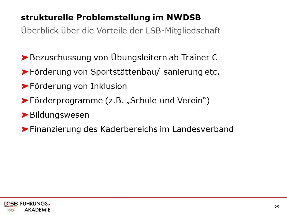 29 strukturelle Problemstellung im NWDSB Bezuschussung von Übungsleitern ab Trainer C Förderung von Sportstättenbau/-sanierung etc.