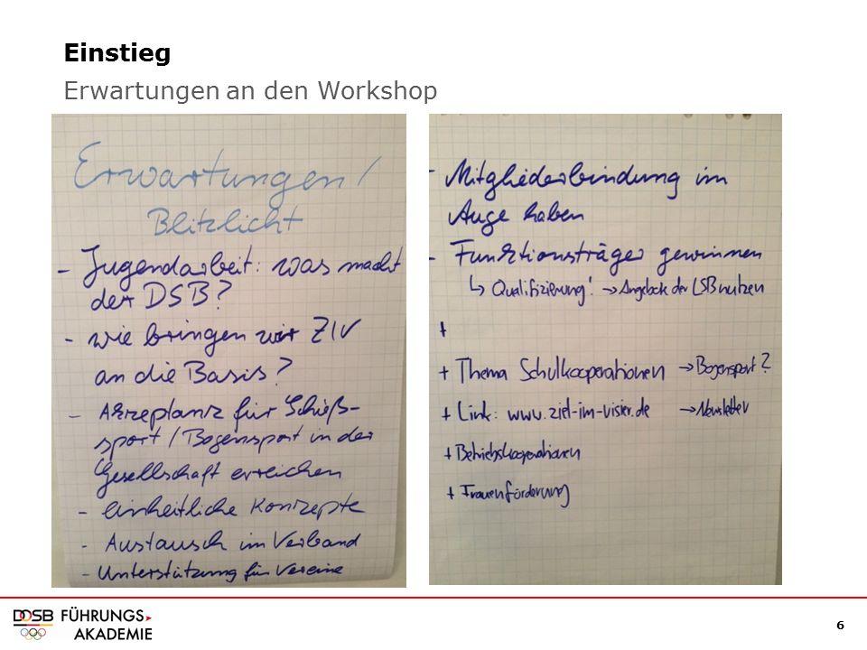 6 Einstieg Erwartungen an den Workshop