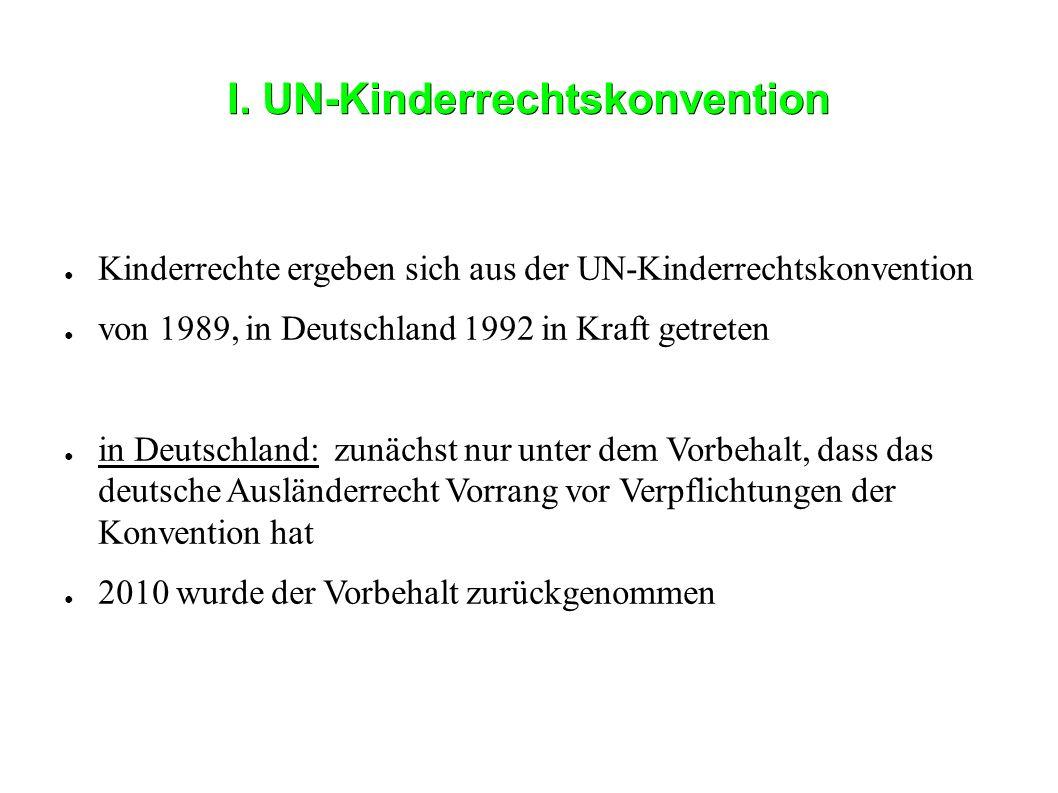 I. UN-Kinderrechtskonvention ● Kinderrechte ergeben sich aus der UN-Kinderrechtskonvention ● von 1989, in Deutschland 1992 in Kraft getreten ● in Deut