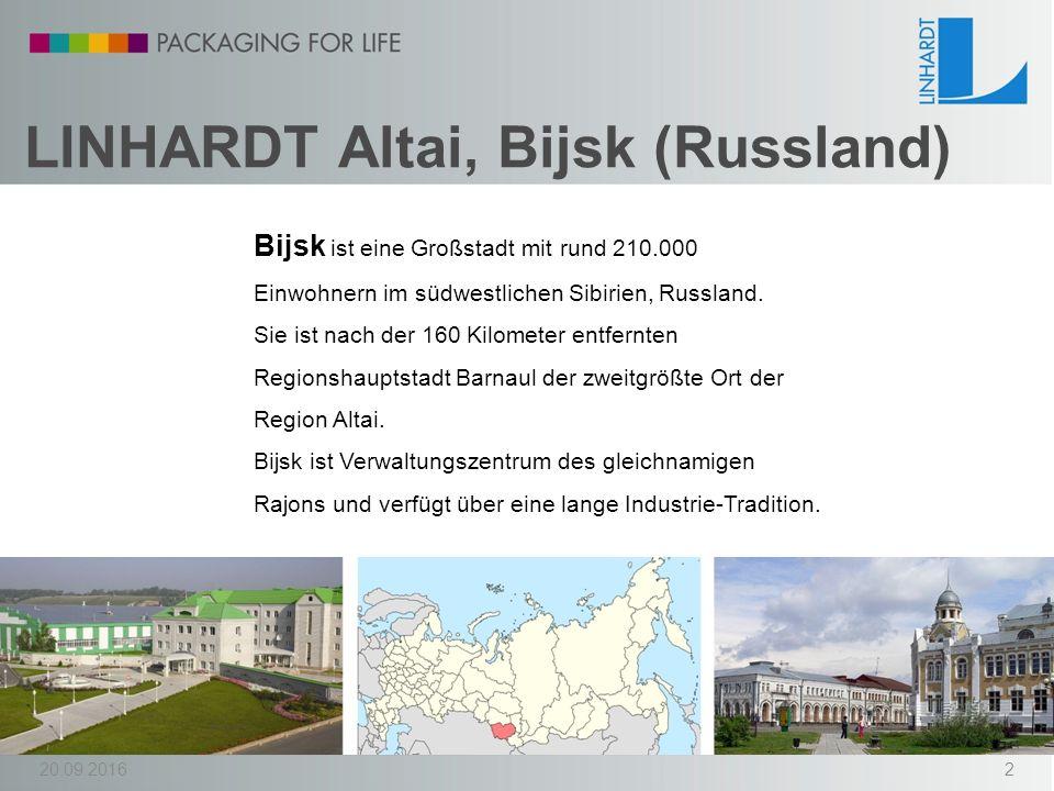 Firmengeschichte 07/2012 gegründet als Joint Venture der LINHARDT-Gruppe, der Voest Alpin Intertrading VAIT (Linz, Österreich) und der Altaivitamini (Bijsk, Russland) 12/2013Produktionsstart 20.09.20163
