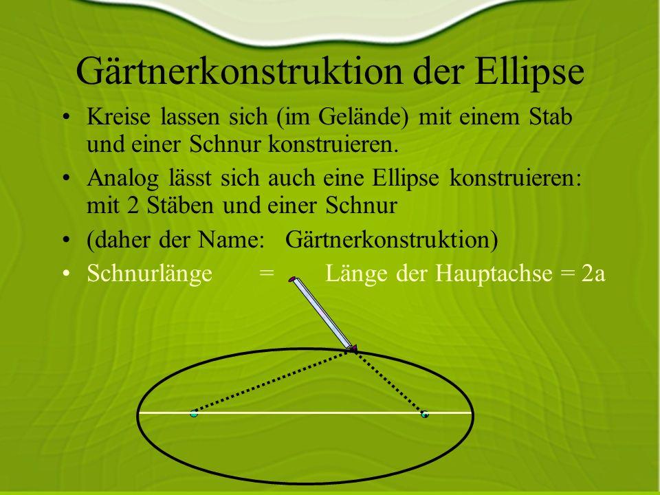 Gärtnerkonstruktion der Ellipse Kreise lassen sich (im Gelände) mit einem Stab und einer Schnur konstruieren.