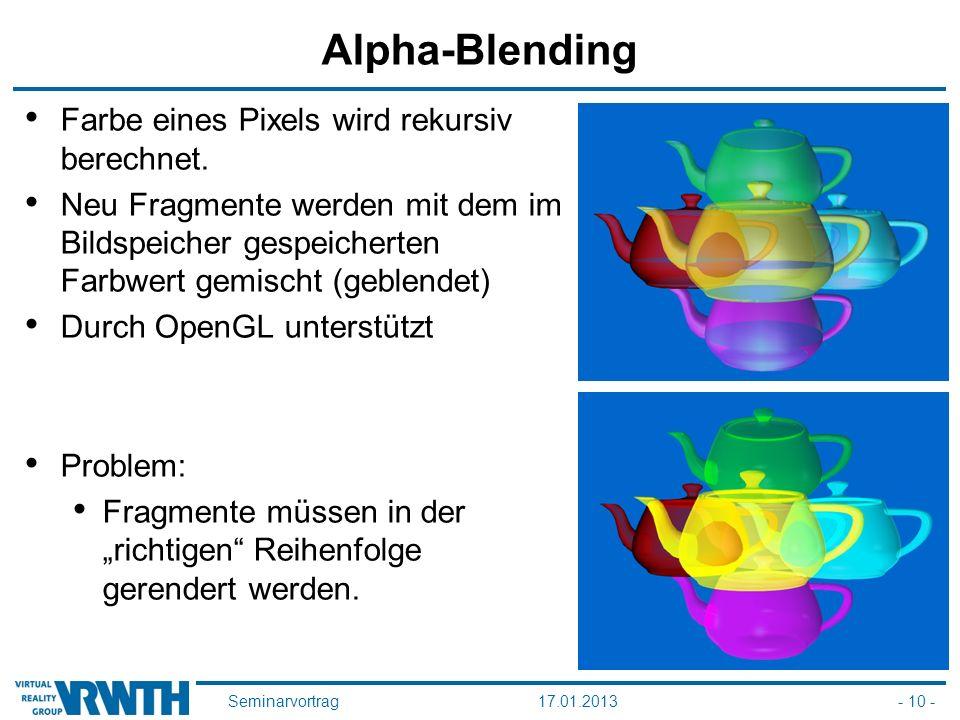 Seminarvortrag17.01.2013- 10 - Alpha-Blending Farbe eines Pixels wird rekursiv berechnet. Neu Fragmente werden mit dem im Bildspeicher gespeicherten F