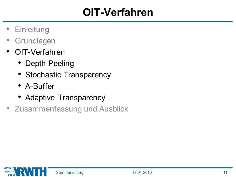 Seminarvortrag17.01.2013- 11 - OIT-Verfahren Einleitung Grundlagen OIT-Verfahren Depth Peeling Stochastic Transparency A-Buffer Adaptive Transparency Zusammenfassung und Ausblick