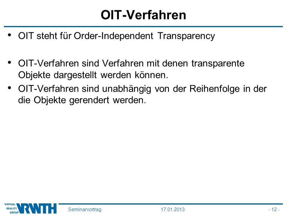 Seminarvortrag17.01.2013- 12 - OIT-Verfahren OIT steht für Order-Independent Transparency OIT-Verfahren sind Verfahren mit denen transparente Objekte dargestellt werden können.