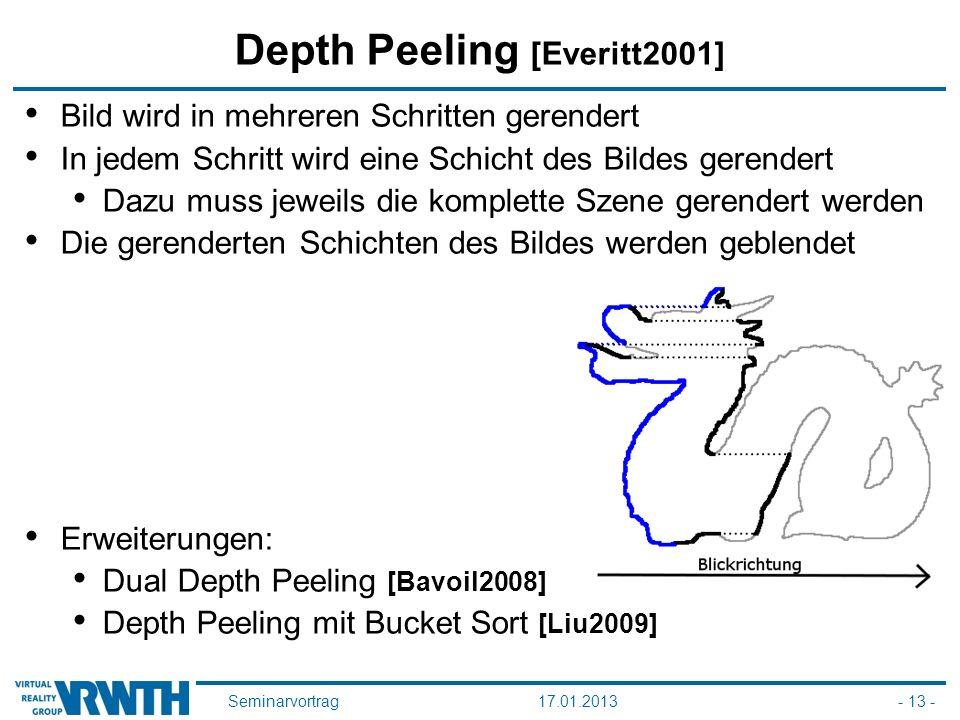 Seminarvortrag17.01.2013- 13 - Depth Peeling [Everitt2001] Bild wird in mehreren Schritten gerendert In jedem Schritt wird eine Schicht des Bildes gerendert Dazu muss jeweils die komplette Szene gerendert werden Die gerenderten Schichten des Bildes werden geblendet Erweiterungen: Dual Depth Peeling [Bavoil2008] Depth Peeling mit Bucket Sort [Liu2009]