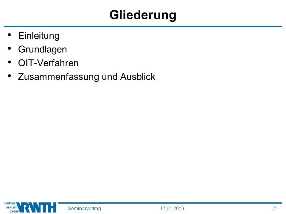 Seminarvortrag17.01.2013- 2 - Gliederung Einleitung Grundlagen OIT-Verfahren Zusammenfassung und Ausblick