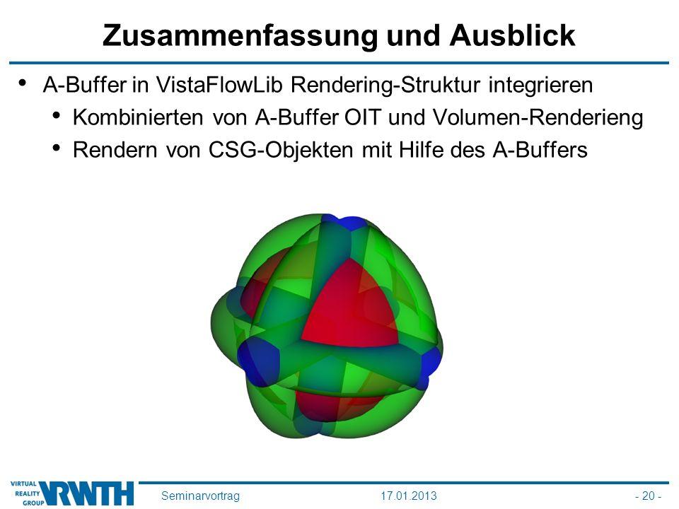 Seminarvortrag17.01.2013- 20 - Zusammenfassung und Ausblick A-Buffer in VistaFlowLib Rendering-Struktur integrieren Kombinierten von A-Buffer OIT und Volumen-Renderieng Rendern von CSG-Objekten mit Hilfe des A-Buffers