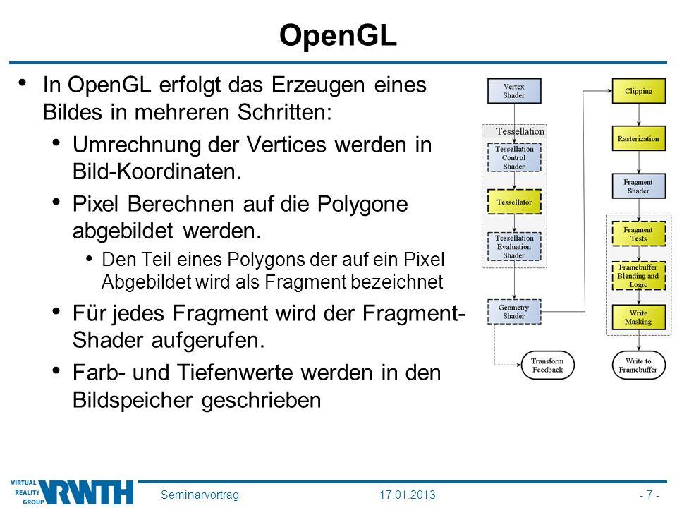 Seminarvortrag17.01.2013- 7 - OpenGL In OpenGL erfolgt das Erzeugen eines Bildes in mehreren Schritten: Umrechnung der Vertices werden in Bild-Koordinaten.