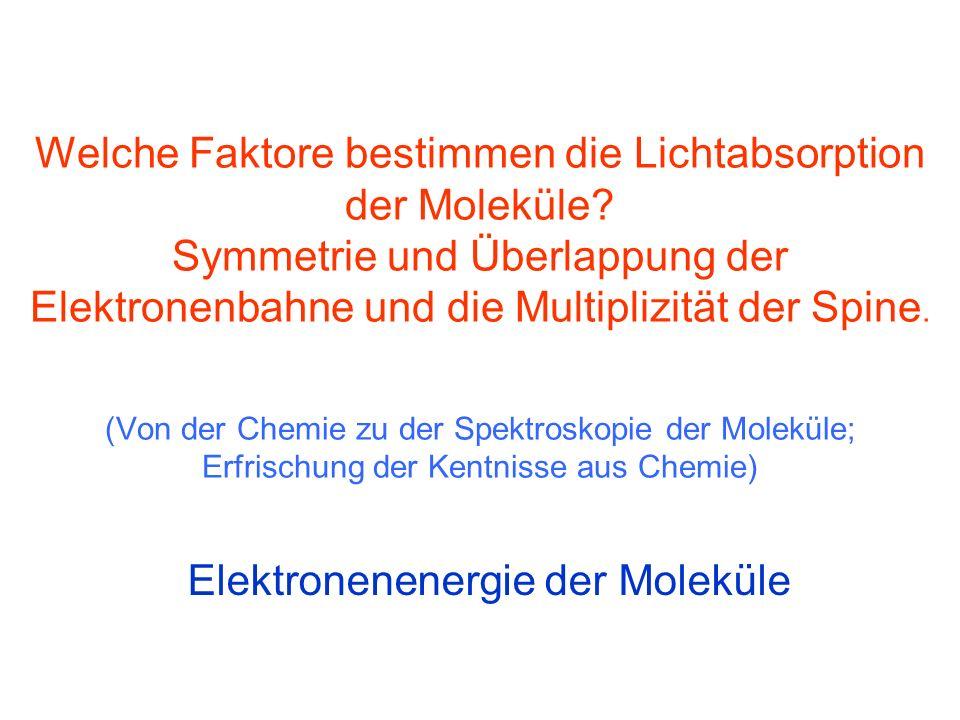 Welche Faktore bestimmen die Lichtabsorption der Moleküle.