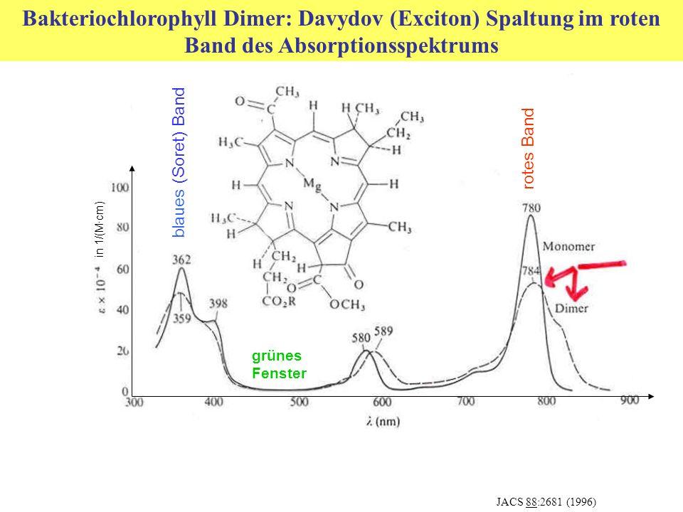 Bakteriochlorophyll Dimer: Davydov (Exciton) Spaltung im roten Band des Absorptionsspektrums JACS 88:2681 (1996) grünes Fenster blaues (Soret) Band rotes Band in 1/(M·cm)
