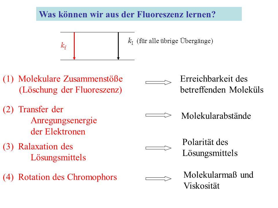 k I (für alle übrige Übergänge) kfkf Was können wir aus der Fluoreszenz lernen.