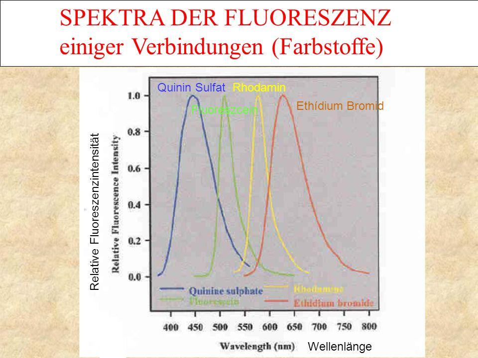 Wellenlänge SPEKTRA DER FLUORESZENZ einiger Verbindungen (Farbstoffe) Relative Fluoreszenzintensität Quinin SulfatRhodamin Ethídium Bromid Fluoreszcein