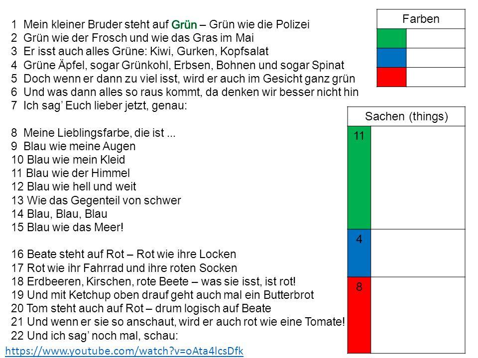 Farben Sachen (things) 11 4 8 https://www.youtube.com/watch v=oAta4lcsDfk