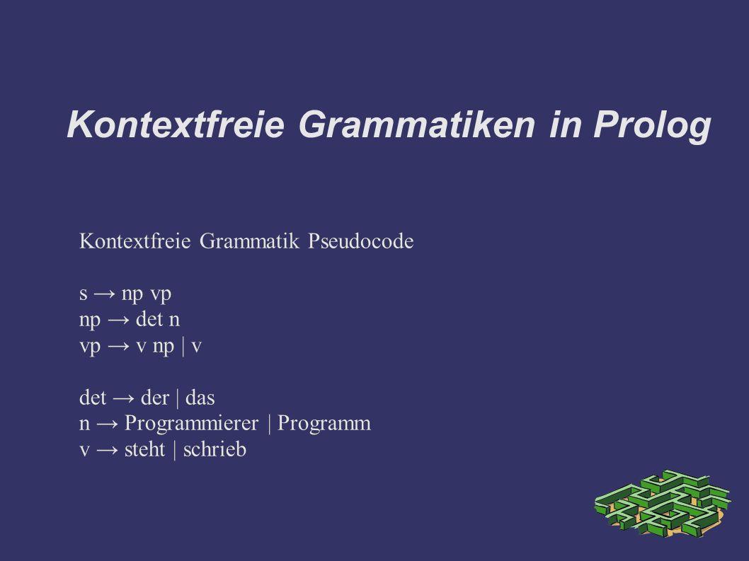 Kontextfreie Grammatiken in Prolog Kontextfreie Grammatik Pseudocode s → np vp np → det n vp → v np | v det → der | das n → Programmierer | Programm v