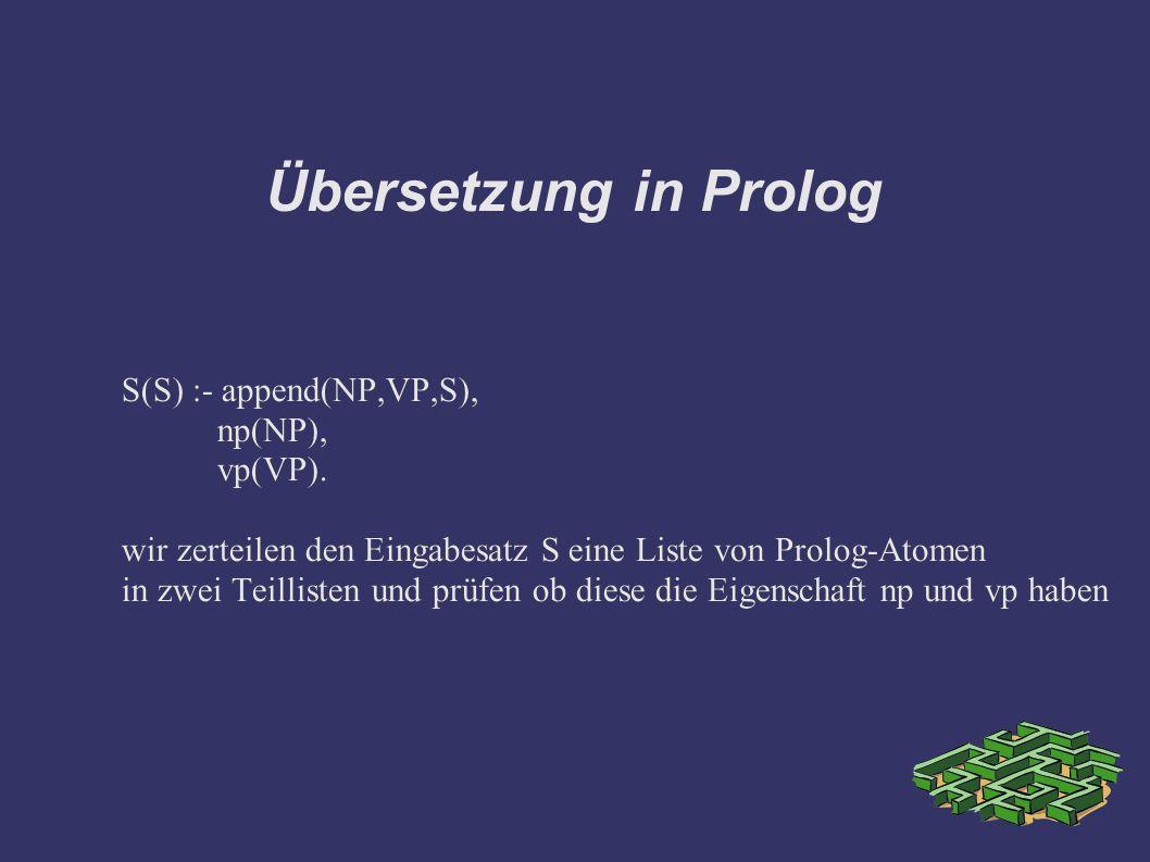 Übersetzung in Prolog S(S) :- append(NP,VP,S), np(NP), vp(VP). wir zerteilen den Eingabesatz S eine Liste von Prolog-Atomen in zwei Teillisten und prü