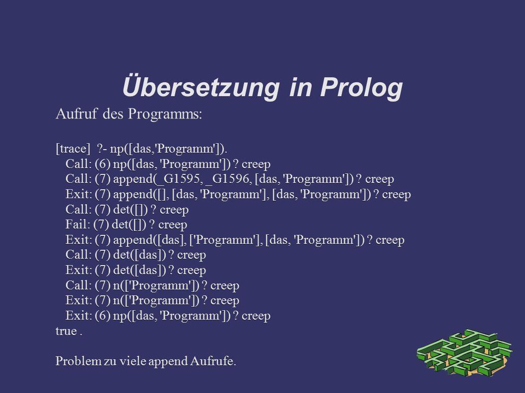 Übersetzung in Prolog Aufruf des Programms: [trace] ?- np([das,'Programm']). Call: (6) np([das, 'Programm']) ? creep Call: (7) append(_G1595, _G1596,