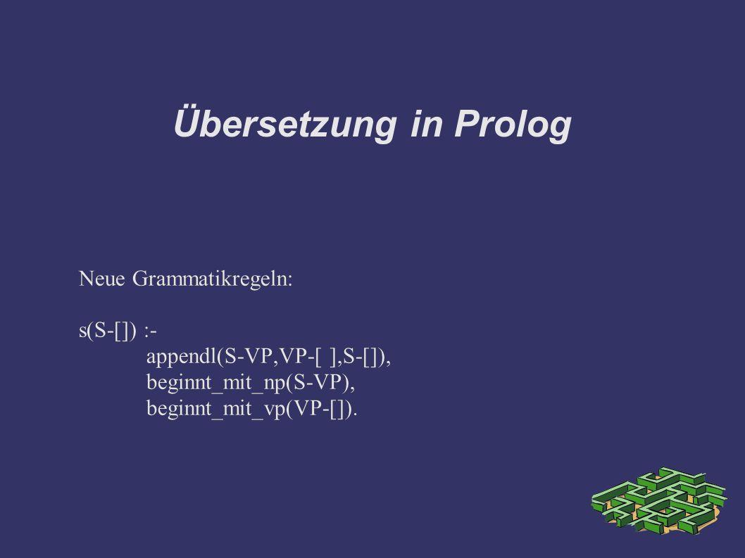 Übersetzung in Prolog Neue Grammatikregeln: s(S-[]) :- appendl(S-VP,VP-[ ],S-[]), beginnt_mit_np(S-VP), beginnt_mit_vp(VP-[]). Neue Grammatikregeln: s