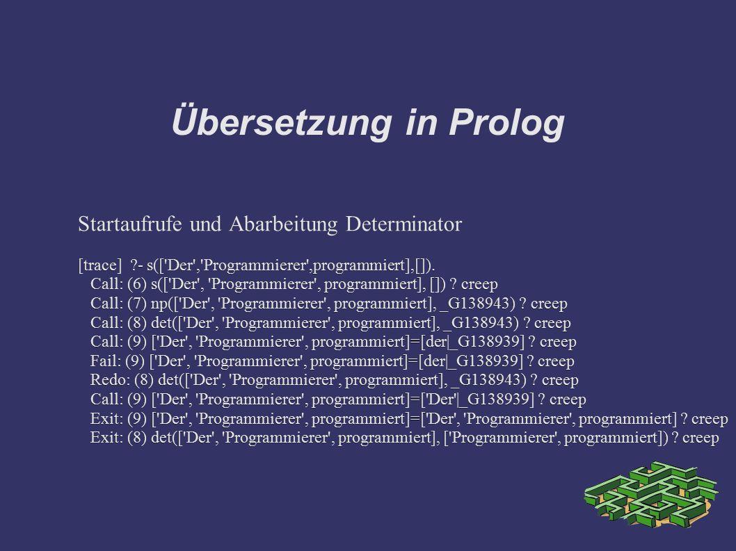 Übersetzung in Prolog Startaufrufe und Abarbeitung Determinator [trace] ?- s(['Der','Programmierer',programmiert],[]). Call: (6) s(['Der', 'Programmie