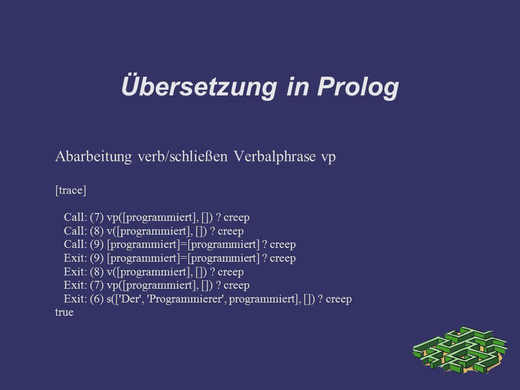 Übersetzung in Prolog Abarbeitung verb/schließen Verbalphrase vp [trace] Call: (7) vp([programmiert], []) ? creep Call: (8) v([programmiert], []) ? cr