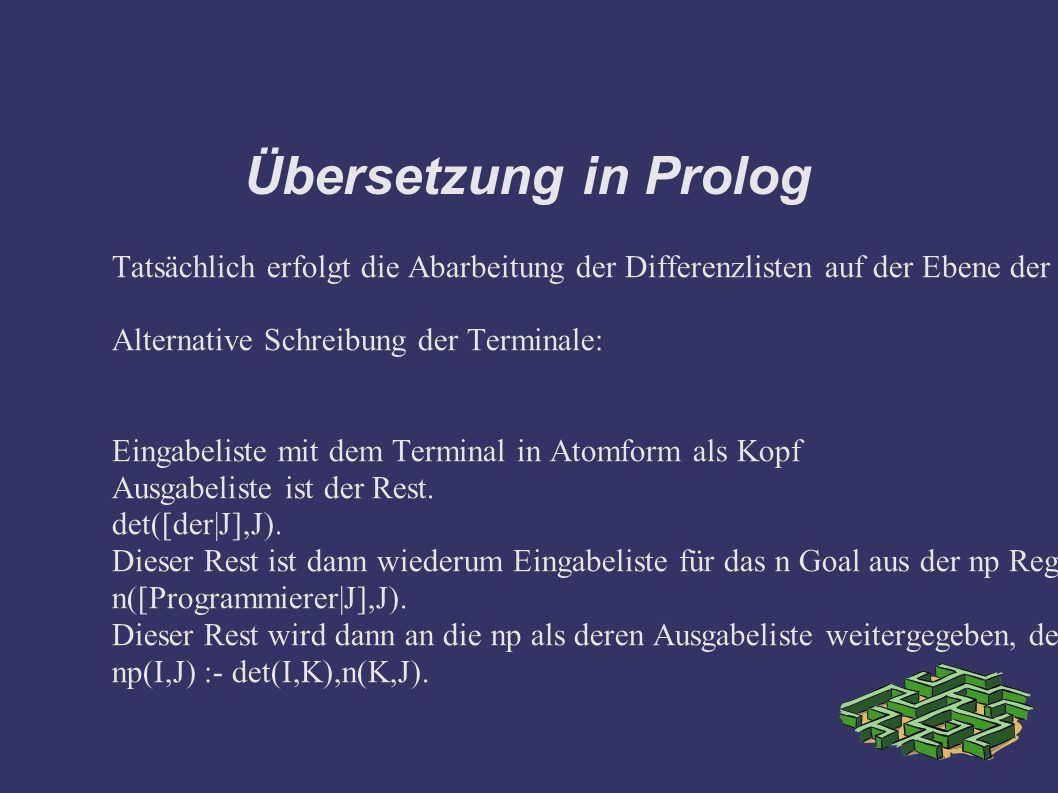 Übersetzung in Prolog Tatsächlich erfolgt die Abarbeitung der Differenzlisten auf der Ebene der Terminale über den Restlistenoperator. Alternative Sch