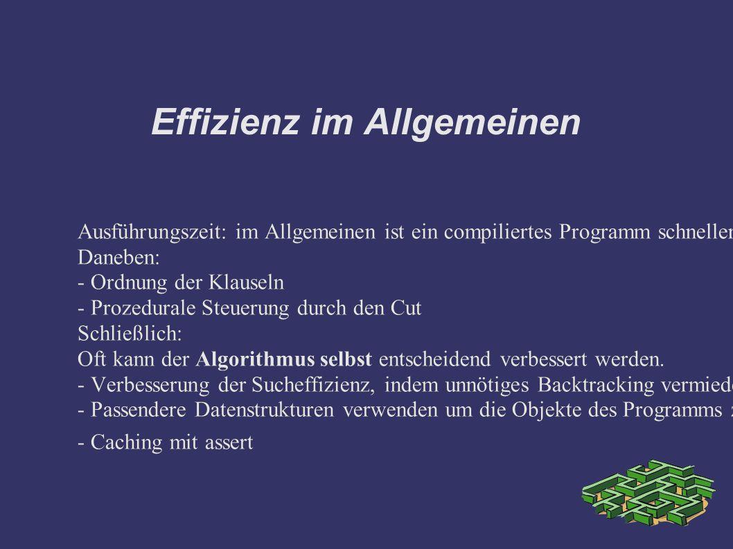Effizienz im Allgemeinen Ausführungszeit: im Allgemeinen ist ein compiliertes Programm schneller als ein interpretiertes. Deshalb falls vorhanden für