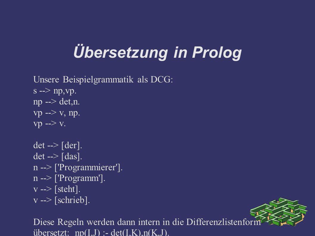 Übersetzung in Prolog Unsere Beispielgrammatik als DCG: s --> np,vp. np --> det,n. vp --> v, np. vp --> v. det --> [der]. det --> [das]. n --> ['Progr