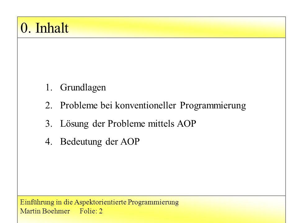 0. Inhalt Einführung in die Aspektorientierte Programmierung Martin BoehmerFolie: 2 1.Grundlagen 2.Probleme bei konventioneller Programmierung 3.Lösun